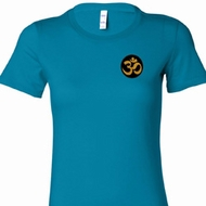 Gold AUM Patch Pocket Print Ladies Yoga Shirts