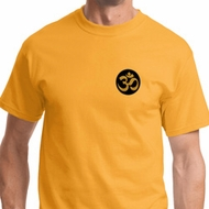 Gold AUM Patch Pocket Print Mens Yoga Shirts