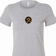 Gold AUM Patch Middle Print Ladies Yoga Shirts