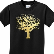 Gold Foil Tree of Life Kids Yoga Shirts