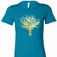 Gold Foil Tree of Life Ladies Yoga Shirts
