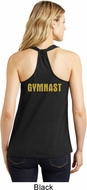 Gold Shimmer Gymnast Neck Print Ladies Gymnastics Shirts