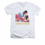 Gone With The Wind Shirt Slim Fit V Neck On Fire White Tee T-Shirt