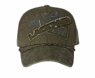 Gothic Style Hat with Chain - Lackpard Patch Cap - Olive Green