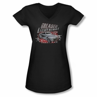 Grease Shirt Juniors V Neck Greased Lightening Black Tee T-Shirt