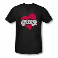 Grease Shirt Slim Fit V Neck Heart Black Tee T-Shirt