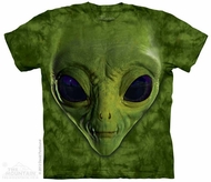 Green Alien Face Shirt Tie Dye Adult T-Shirt Tee