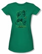 Green Lantern Juniors T-shirt Pencil Energy Girly Kelly Green Tee