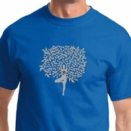 Grey Tree Pose Mens Yoga Shirts