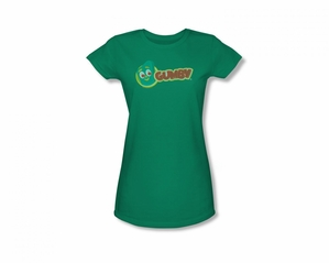 Gumby Shirt Juniors Logo Kelly Green T-Shirt
