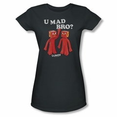 Gumby Shirt Juniors You Mad Charcoal T-Shirt