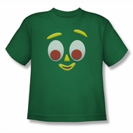 Gumby Shirt Kids Face Kelly Green T-Shirt