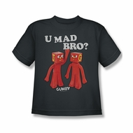Gumby Shirt Kids You Mad Charcoal T-Shirt