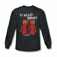 Gumby Shirt You Mad Long Sleeve Charcoal Tee T-Shirt