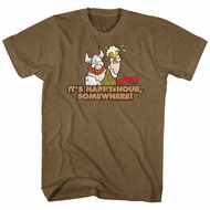 Hagar The Horrible Shirt It's Happy Hour Somewhere Heather Brown T-Shirt