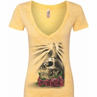 Halloween Day of the Dead Candle Skull Ladies Burnout V-neck Shirt