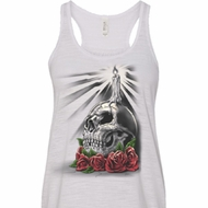 Halloween Day of the Dead Candle Skull Ladies Flowy Racerback Tanktop