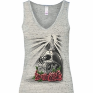 Halloween Day of the Dead Candle Skull Ladies Flowy V-neck Tanktop