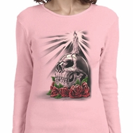 Halloween Day of the Dead Candle Skull Ladies Long Sleeve Shirt