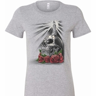 Halloween Day of the Dead Candle Skull Ladies Longer Length Shirt