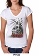 Halloween Day of the Dead Candle Skull Ladies Tri Blend V-Neck Shirt