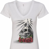 Halloween Day of the Dead Candle Skull Ladies V-Neck Shirt