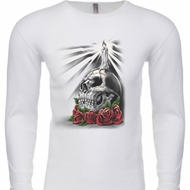 Halloween Day of the Dead Candle Skull Long Sleeve Thermal Shirt