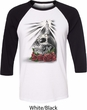 Halloween Day of the Dead Candle Skull Mens Raglan Shirt