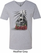 Halloween Day of the Dead Candle Skull Mens V-Neck Shirt