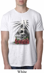 Halloween Day of the Dead Candle Skull Mens White Burnout Shirt