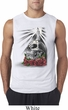 Halloween Day of the Dead Candle Skull Mens White Sleeveless Shirt