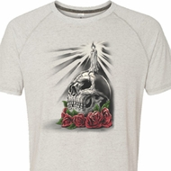 Halloween Day of the Dead Candle Skull Mens White Tri Blend Shirt
