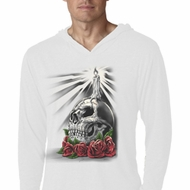 Halloween Day of the Dead Candle Skull White Lightweight Hoodie Shirt