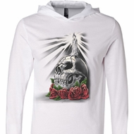 Halloween Day of the Dead Candle Skull White Lightweight Hoodie Tee