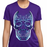 Halloween Glass Skull Ladies Moisture Wicking Shirt