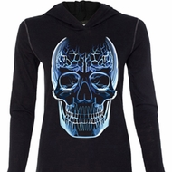 Halloween Glass Skull Ladies Tri Blend Hoodie Shirt
