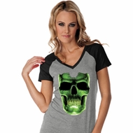 Halloween Glow Bones Ladies Contrast V-Neck Shirt