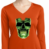 Halloween Glow Bones Ladies Dry Wicking Long Sleeve Shirt