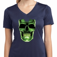 Halloween Glow Bones Ladies Moisture Wicking V-neck Shirt