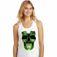 Halloween Glow Bones Ladies Racerback Tank Top