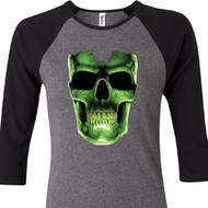 Halloween Glow Bones Ladies Raglan Shirt