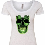Halloween Glow Bones Ladies Scoop Neck Shirt