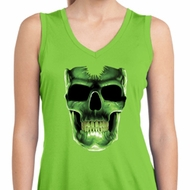 Halloween Glow Bones Ladies Sleeveless Moisture Wicking Shirt