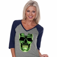 Halloween Glow Bones Ladies Three Quarter Sleeve V-Neck Raglan Shirt
