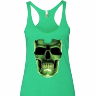 Halloween Glow Bones Ladies Tri Blend Racerback Tank Top