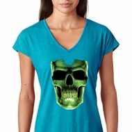 Halloween Glow Bones Ladies Tri Blend V-Neck Shirt