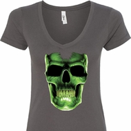Halloween Glow Bones Ladies V-Neck Shirt