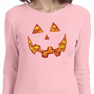 Halloween Jack O Lantern Skull Ladies Long Sleeve Shirt