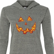 Halloween Jack O Lantern Skull Ladies Tri Blend Hoodie Shirt