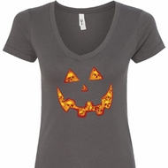 Halloween Jack O Lantern Skull Ladies V-Neck Shirt